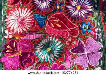 Traditional handmade guatemalan flower design fabric  - stock photo