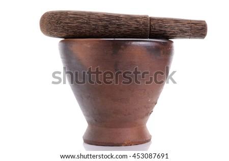 traditional handmade mortar & pestle set - stock photo