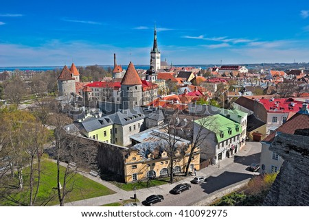 Traditional high point view to an old city in Tallinn, Estonia, in sunny spring day. - stock photo
