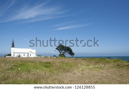 Traditional Historic Church of Raukokore, on New Zealand's East Coast. - stock photo