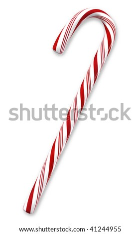 Traditional holiday candy cane isolated on white with clipping paths. - stock photo
