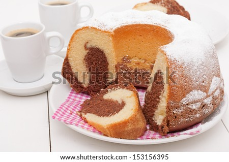 Traditional Homemade Marble Cake - Gugelhupf and Cup of Espresso Coffee  - stock photo