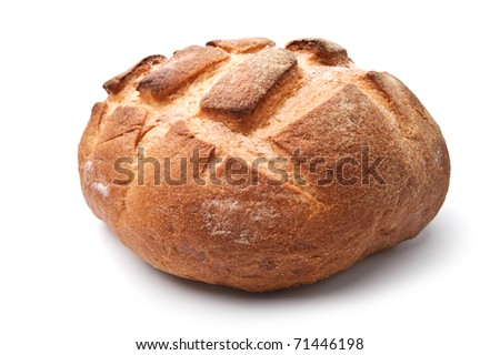 Traditional homemade round bread isolated on a white background - stock photo