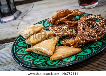 traditional honey and almond sweet pastries from morocco - stock photo