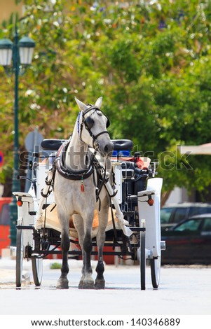 Traditional horse and carriage in Zakynthos Greece - stock photo