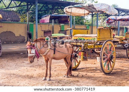 Traditional horse cart also known as Tanga in Murshidabad, West Bengal, India, used mainly for carrying tourists around the city. - stock photo