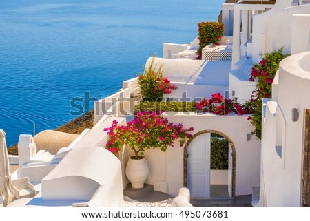 Traditional house and flower in Oia, Santorini, Greece