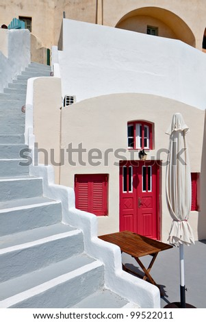Traditional house at Fira city of Santorini island in Greece - stock photo