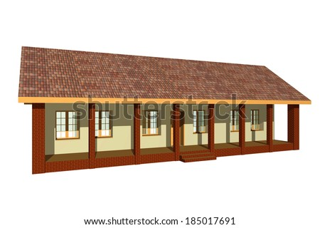 Traditional house from Panonia region in Europe, 3D rendering