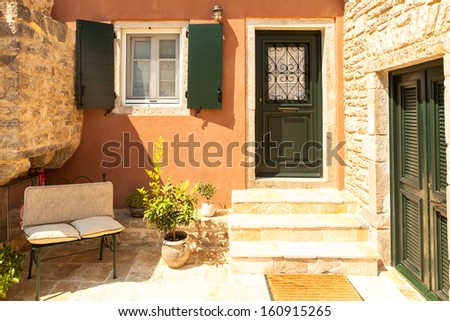 Traditional house from Perithia old village, Corfu - stock photo