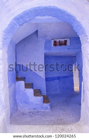 Traditional house in blue city of Chaouen, Morocco - stock photo
