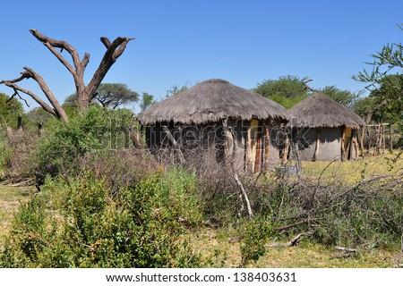 traditional house in Botswana - stock photo