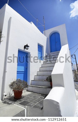 Traditional house in Kithira Island. A traditional house in the deep blue of the Aegean sky at Kithira Island in Greece.
