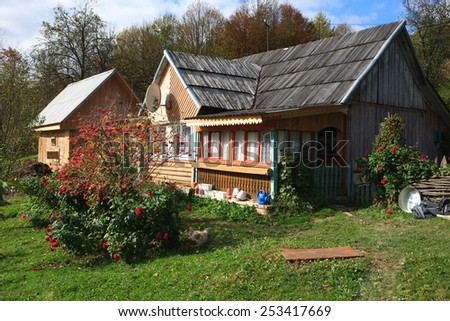 Traditional house in the Ukrainian Carpathians