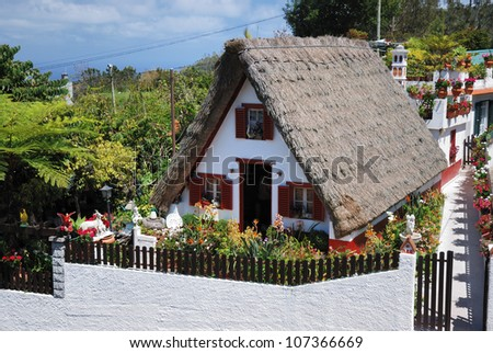 Traditional house on madeira, portugal - stock photo