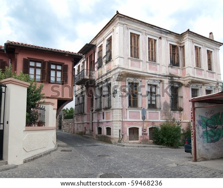 traditional house ottoman in old village of Xanthi, Greece - stock photo