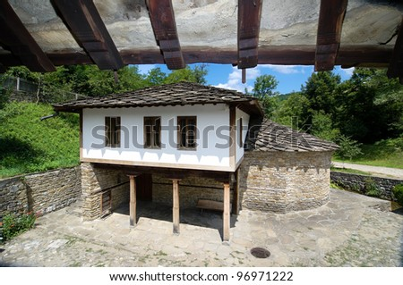 traditional house with roof stone in the architectural-ethnographic village of Etar, Bulgaria