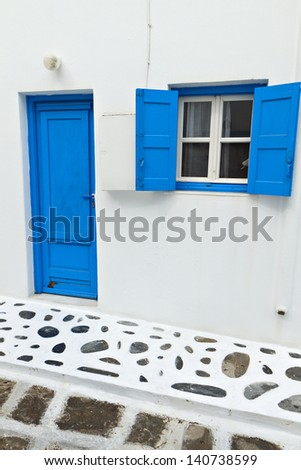 Traditional houses at Mykonos island in Greece - stock photo
