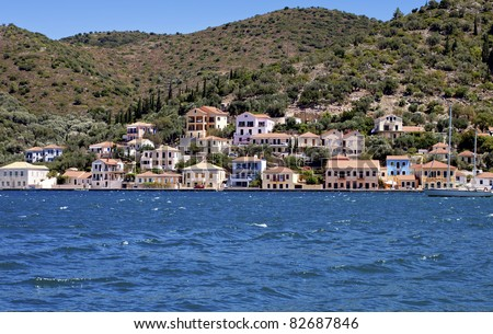 Traditional houses at Vathi bay of Ithaki island in Greece