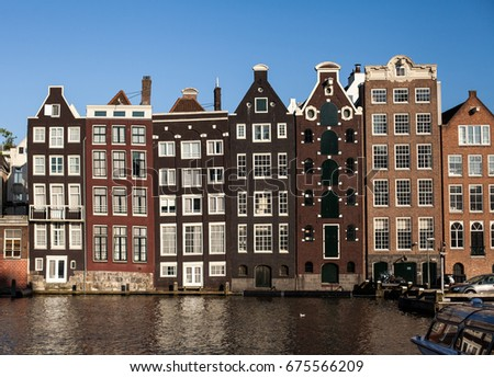 Traditional houses in Amsterdam, Netherlands - July 2013