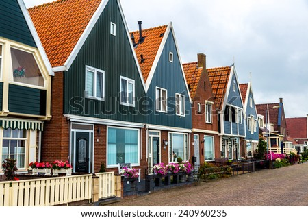 Traditional houses in Holland town Volendam, Netherlands - stock photo