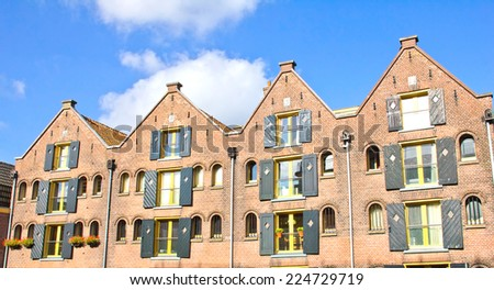 Traditional houses in the Netherlands - stock photo