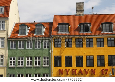 Traditional houses of Nyhavn port in Copenhagen in Denmark in Europe