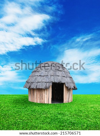 Traditional huts Papuans - stock photo
