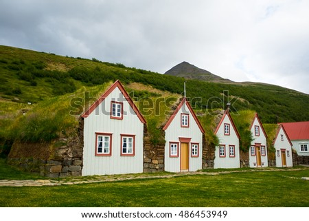 Traditional Icelandic House with grass roof