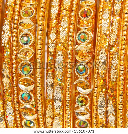 Traditional Indian bangles with different colors and patterns - stock photo