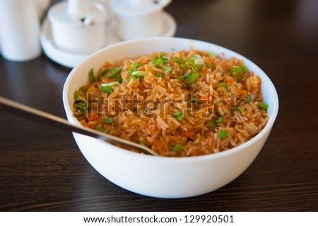 traditional indian Biryani in small wok - stock photo