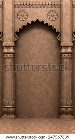 Traditional Indian Column Arc - stock photo