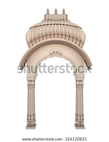 Traditional Indian Column Arc Isolated on White - stock photo