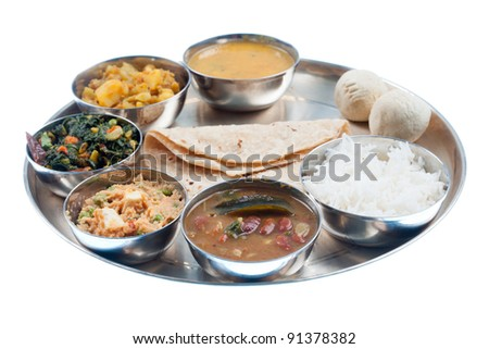 Traditional Indian Dinner Plate Isolated White  sc 1 st  Shutterstock & Traditional Indian Dinner Plate Isolated White Stock Photo (Download ...