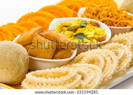 Traditional Indian Diwali snacks - stock photo