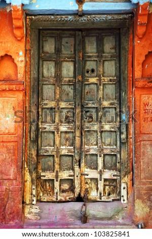 Traditional indian door in Jodhpur, Rajasthan, India - stock photo