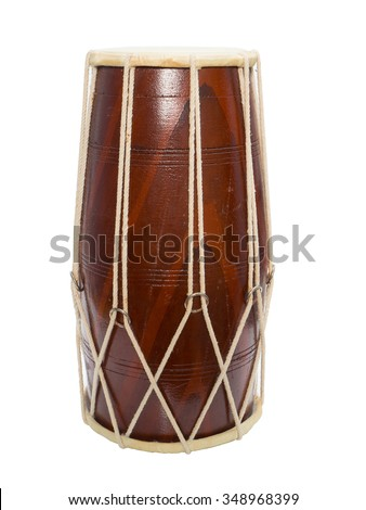 Traditional Indian drum isolated on white background. - stock photo