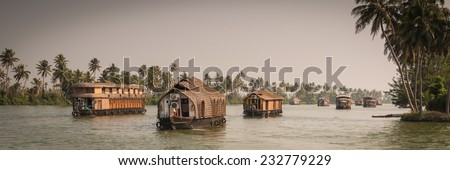 Traditional Indian house boat .Kerala  - stock photo