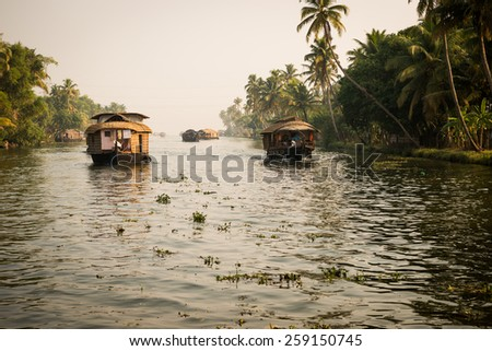 Traditional Indian house boat .Kerala .Vintage tone - stock photo