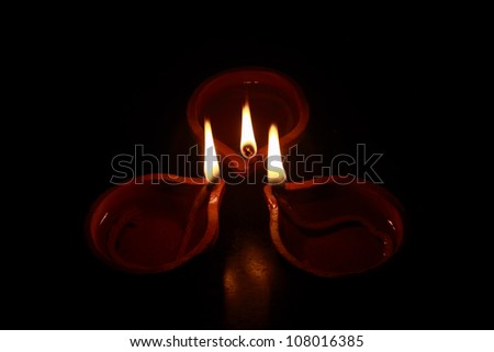 Traditional Indian Oil Lamp - stock photo
