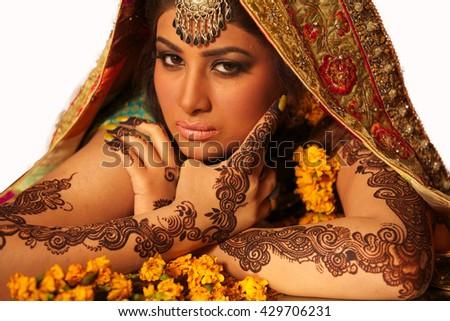 Traditional Indian/Pakistani bride - stock photo