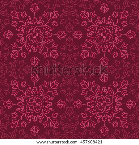 Traditional Indian pattern with round floral elements. Golden and dark purple motifs on purple background. Seamless repeat. Raster version.