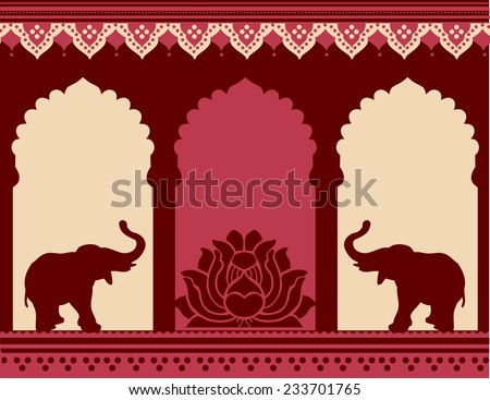 Traditional Indian temple design with lotus and elephants  - stock photo