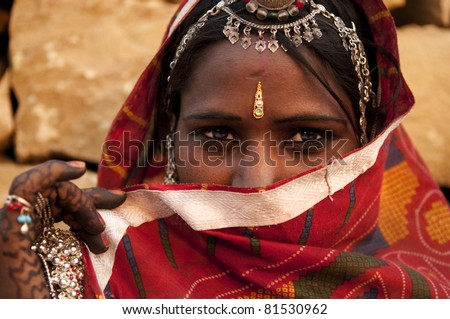 Traditional Indian woman covered her face