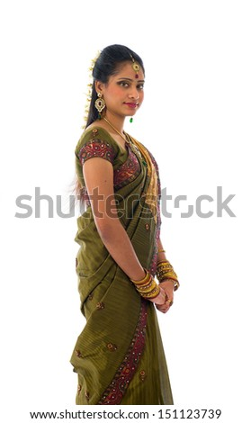 traditional indian woman in saree with white background - stock photo