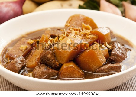 Traditional Indonesian food, Semur ayam (braised chicken with potatoes), with vegetables at the background - stock photo