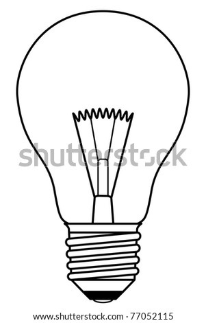 Traditional inefficient incandescent light bulb in a black and white design