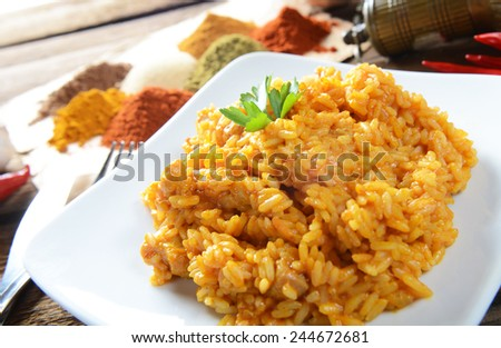 Traditional inia meal - rice tikka masala with chicken - stock photo