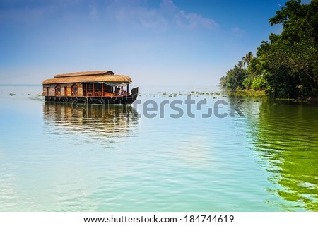 Traditional Inian house boat .Kerala  - stock photo