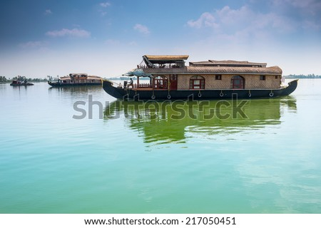 Traditional Inian house boat .Kerala. instagram effect  - stock photo